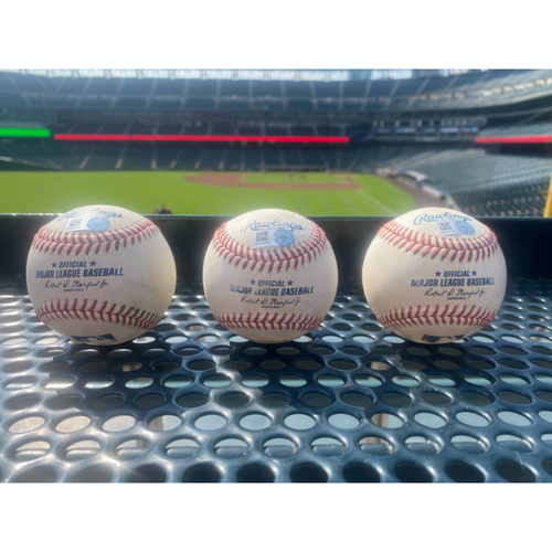 Photo of Game-Used Baseball Set - 3 Mookie Betts Doubles; All from July 17, 2021