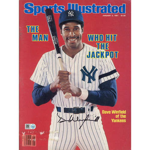 Photo of Dave Winfield New York Yankees Autographed Who Hit the Jackpot Sports Illustrated Magazines