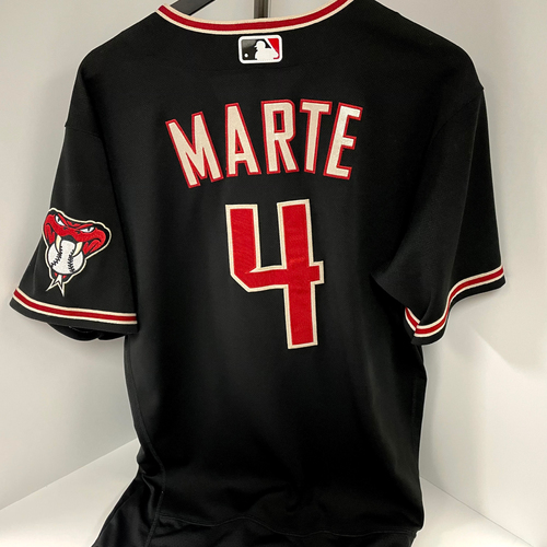 Photo of Ketel Marte Game-Used Nike Jersey - Padres @ D-backs 8/14/2021 (Caught Last Out of No Hitter)