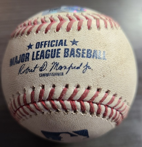 Photo of Authenticated Game Used Baseball: Single by Robbie Grossman against Hyun Jin Ryu (Aug 21, 2021 vs DET). Top 4.