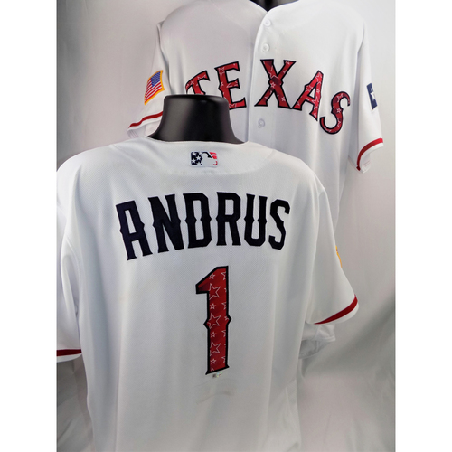 Photo of Elvis Andrus Game-Used Stars & Stripes Jersey - 7/4/2018  - Size 48