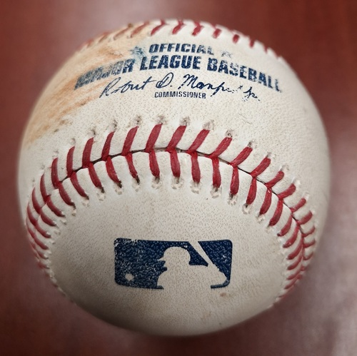 Photo of Authenticated Game Used Baseball - Singles by James McCann and Charlie Tilson against Aaron Sanchez (May 12, 2019 vs CWS). Top 4.