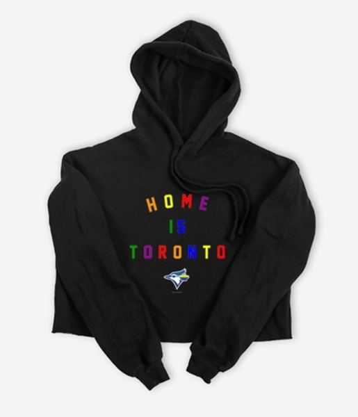 Toronto Blue Jays Women's Home Is Toronto Pride Black Cropped Hoodie by Peace Collective