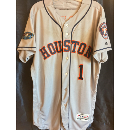 Photo of 2018 Game-Used Carlos Correa ALCS Game 2 Postseason Jersey (Size 46)