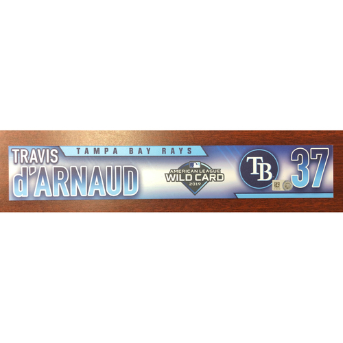 Photo of Game Used A.L. Wild Card Locker Tag: Travis d'Arnaud