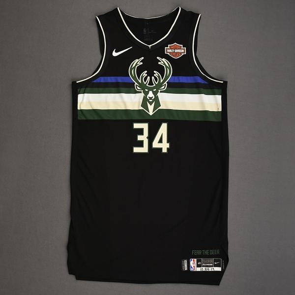 Image of Giannis Antetokounmpo - Milwaukee Bucks - Kia NBA Tip-Off 2019 - Game-Worn Statement Edition Jersey - Triple-Double