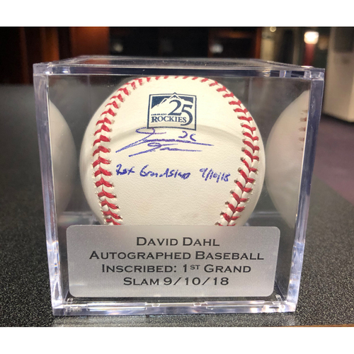 "Photo of Colorado Rockies Autographed and Inscribed ""1st Grand Slam 9/10/18"" 25th Anniversary Baseball: David Dahl"