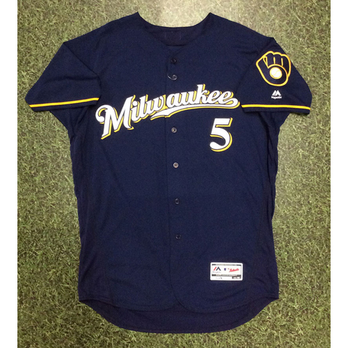 Photo of Jonathan Villar 09/27/16 Game-Used Navy Ball & Glove Jersey - Third Player in Franchise History with 60 SB in Single Season