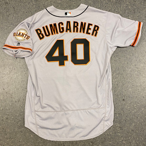 Photo of 2017 Team Issued Road Gray Jersey - #40 Madison Bumgarner - Size 50