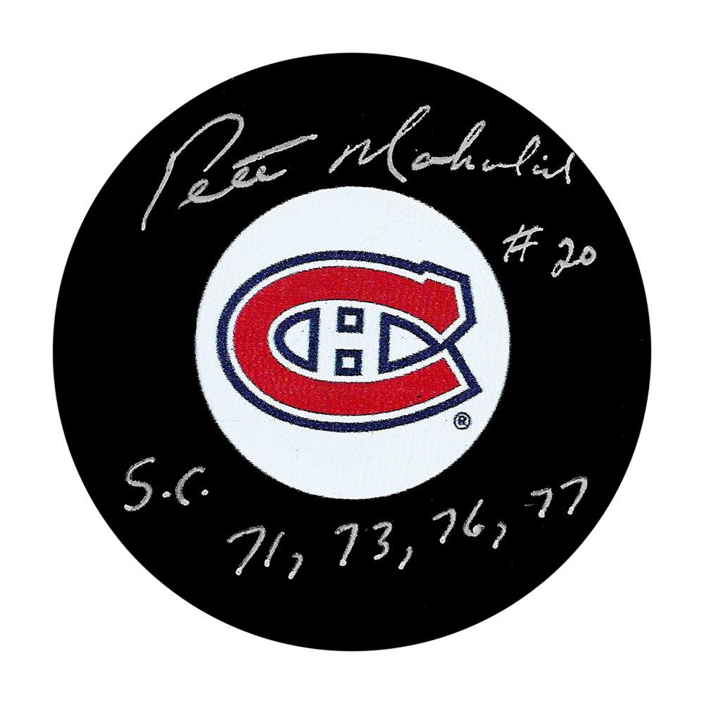 Pete Mahovlich Autographed Montreal Canadiens Puck w/SC 71 73 76 77 Inscription