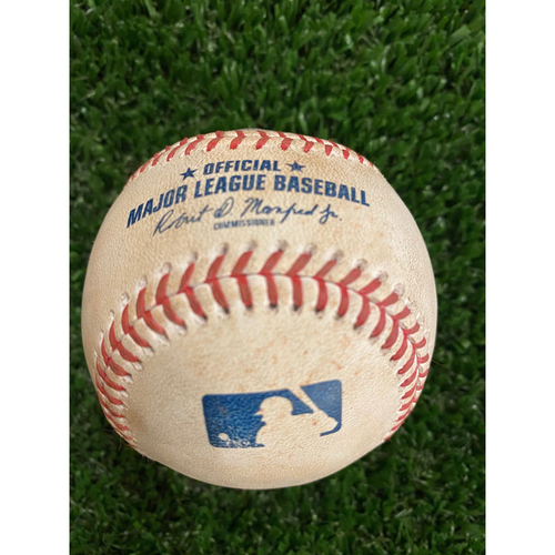 Photo of Dansby Swanson Game Used Hit Single Baseball - August 18, 2020