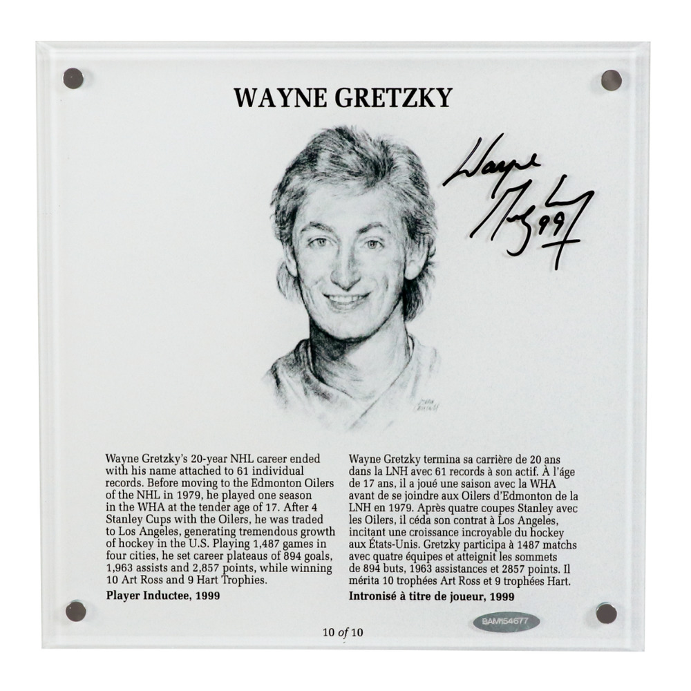 Wayne Gretzky Autographed Legends Line Honoured Member Plaque - Limited Edition 5/10