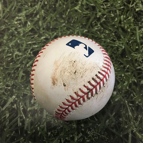 Photo of Game-Used Baseball MIN@MIL 04/03/21 - Tyler Duffey - Lorenzo Cain: Strike