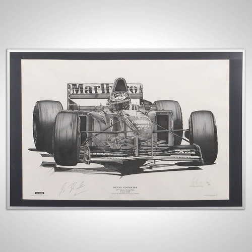 Photo of Michael Schumacher 1997 Signed Art Print by Alan Stammers