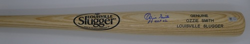 "Photo of Ozzie Smith ""HOF 02"" Autographed Blonde Louisville Slugger Bat"