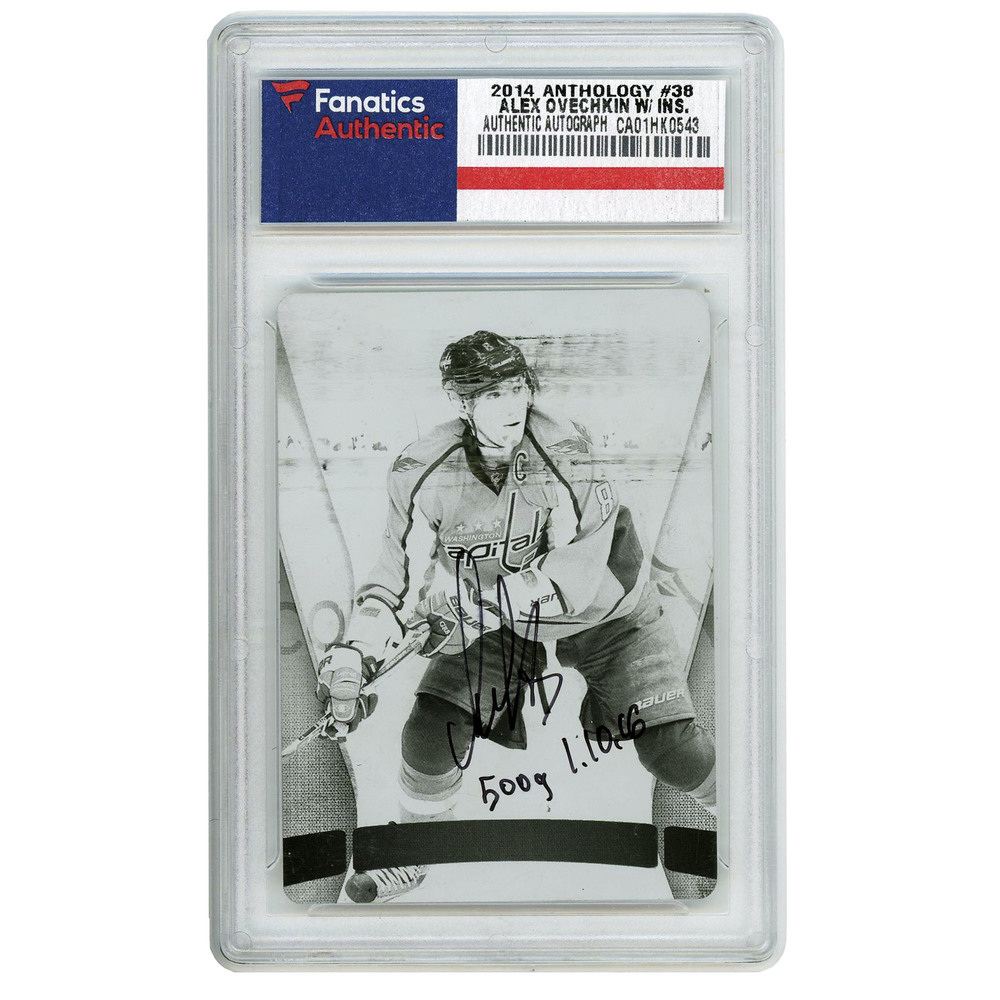 Alexander Ovechkin Washington Capitals Autographed 2014-15 Panini Anthology 1/1 Black Printing Plate #38 Card with 500 G 1.10.16 Inscription