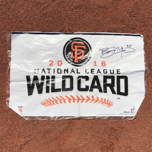 Photo of San Francisco Giants - Autographed Locker Room Wild Card Celebration Banner - Brandon Crawford