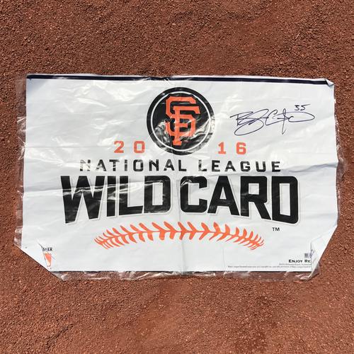 Photo of San Francisco Giants - Autographed Locker Room Wild Card Celebration Banner - Brandon Crawford