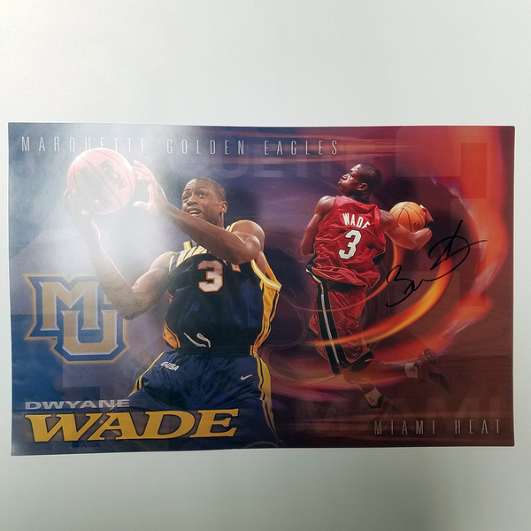 Photo of Dwyane Wade Signed Marquette Poster