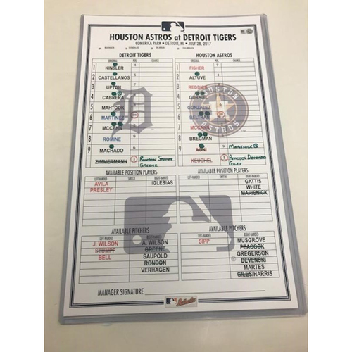 Photo of Game-Used Line-Up Card: Miguel Cabrera 459th Career Home Run Game