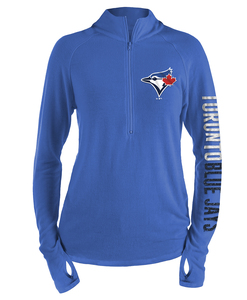 Toronto Blue Jays Women's Brushed Sweater Knit 1/2 Zip Pullover by New Era