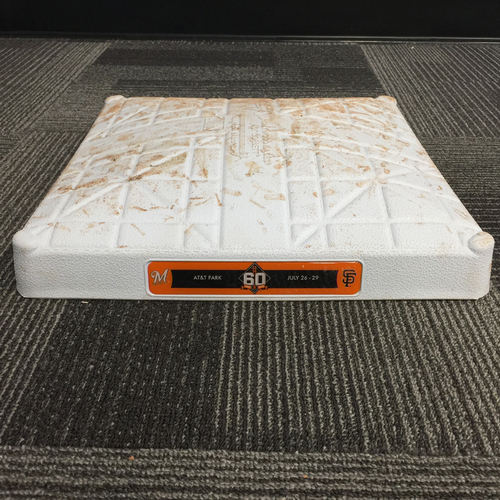 Photo of 2018 San Francisco Giants - Game Used Base vs. Milwaukee Brewers on July 28, 2018 - 1st Base from Innings 1-3
