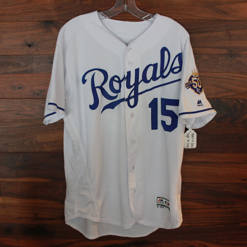 Photo of Game-Used Jersey: Whit Merrifield 271st Career Hit; 447th Career Hit, 97th Career Double and 166th and 167th Career RBIs  (Size 44 -LAA @ KC 4/18/18 -  CLE @ KC  9/29/18)