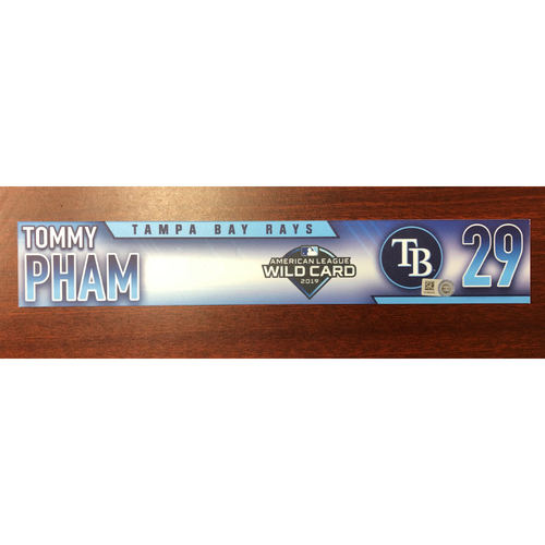 Photo of Game Used A.L. Wild Card Locker Tag: Tommy Pham