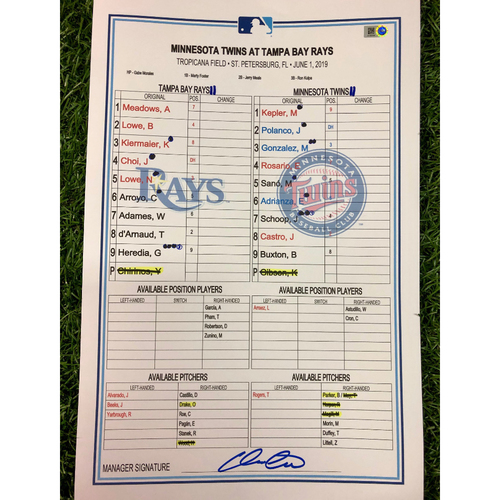 Game Used Lineup Card: Christian Arroyo (1), Marwin Gonzalez (6), and Byron Buxton (6) Home Runs - June 1, 2019 v MIN