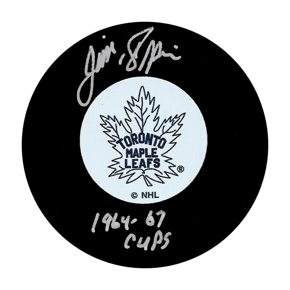 Jim Pappin Autographed Toronto Maple Leafs Puck w/1964-67 CUPS Inscription