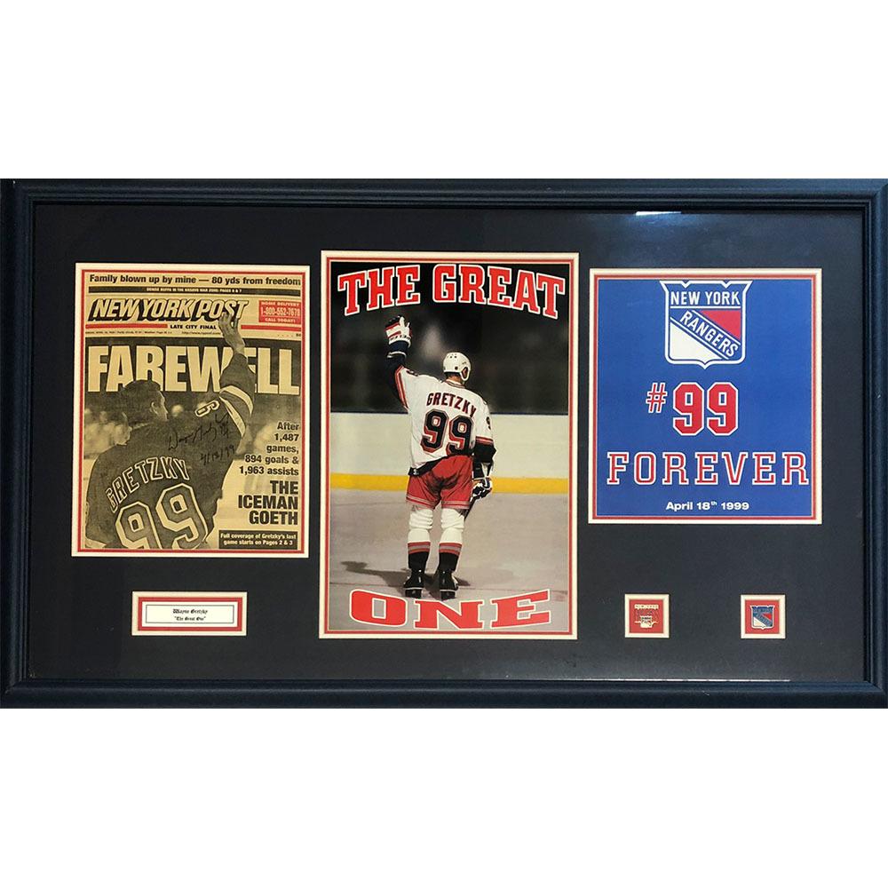 Wayne Gretzky Autographed Final Game Framed Display - April 18th 1999
