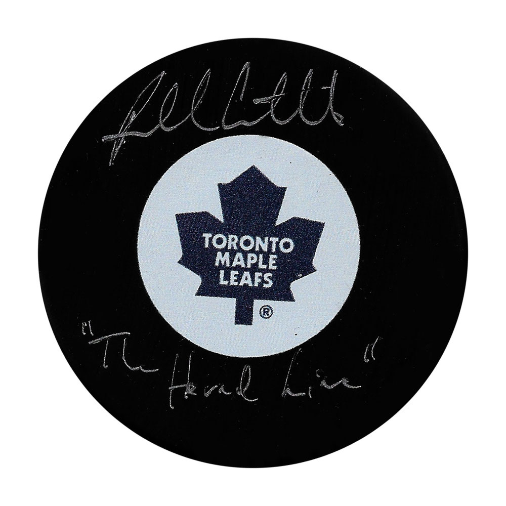 Russ Courtnall Autographed Toronto Maple Leafs Puck w/THE HOUND LINE Inscription