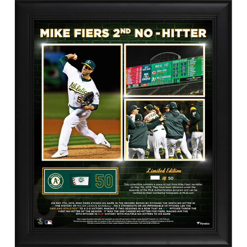 "Photo of Mike Fiers ""2nd No-Hitter"" Frame w/ Game-Used Baseball Piece"