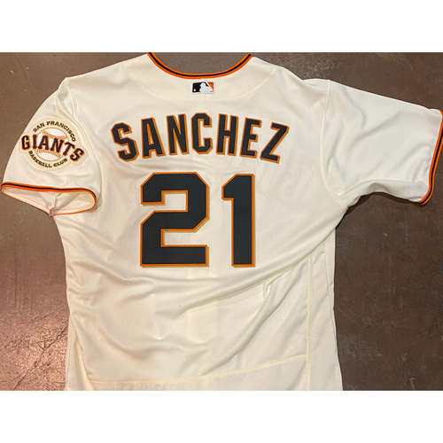 Photo of 2021 Game Used Home Cream Jersey worn by #21 Aaron Sanchez on 4/9 vs. COL - Home Opening Day & 4/12 vs. CIN - 5.0 IP, 3 K's - Size 46