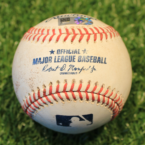Photo of Game-Used Baseball: Franmil Reyes Career 33rd Double & Career 136th RBI (CLE @ KC 8/31/20)