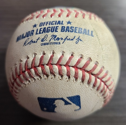 Photo of Authenticated Game Used Baseball: Strikeout by Jordan Romano against Robbie Grossman (Aug 21, 2021 vs DET). Top 9.