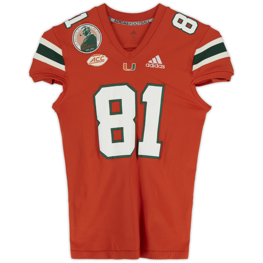 #81 Miami Hurricanes Team-Issued adidas Primeknit Jersey with Howard Schnellenberger Patch vs. Virginia Cavaliers September 30, 2021 - Size XL