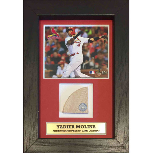 Cardinals Authentics: Yadier Molina Plaque with Game Used Bat Swatch