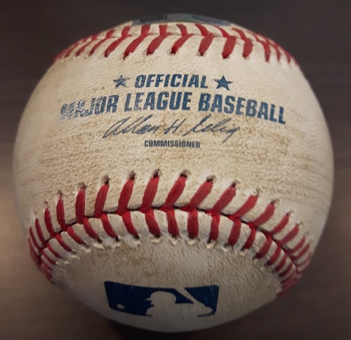 Photo of Authenticated Game Used Baseball - August 9, 2014: 2 RBI Double by Victor Martinez against Marcus Stroman (Top 6)
