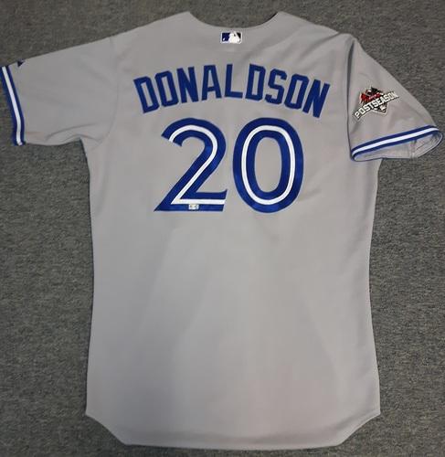 Photo of Authenticated Team Issued Jersey - #20 Josh Donaldson (2015 Postseason). Size 46