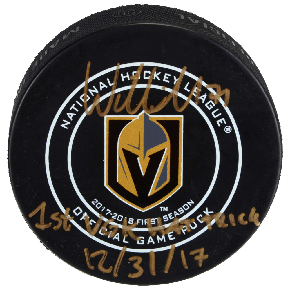 William Karlsson Vegas Golden Knights Autographed Official Game Puck with 1st VGK Hat Trick 12/31/17 Inscription