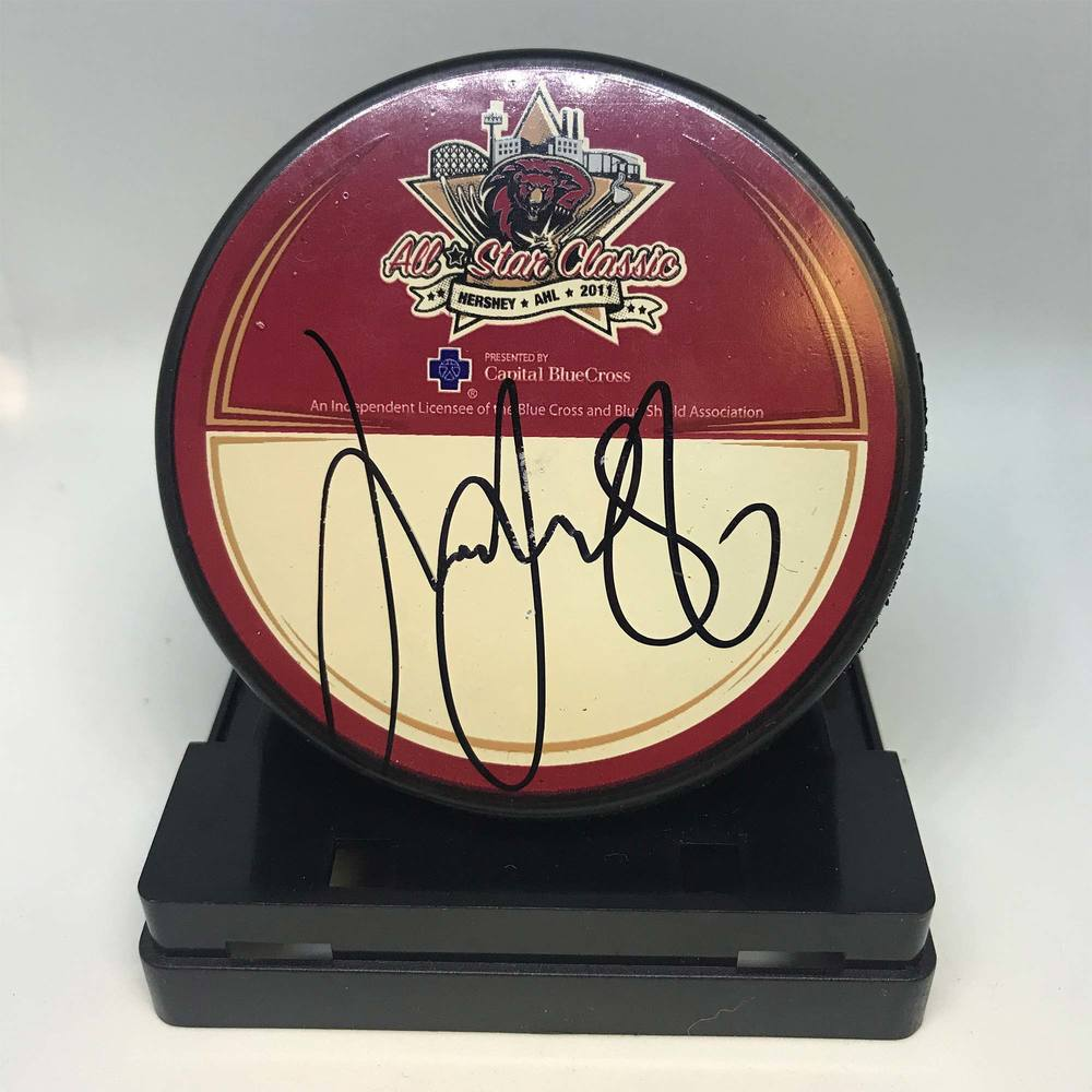 2011 AHL All-Star Classic Souvenir Puck Signed by #86 Linus Klasen