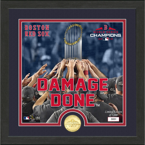 "Photo of Boston Red Sox WS 2018 Champs ""Damage Done"" Bronze Coin Photo Mint"