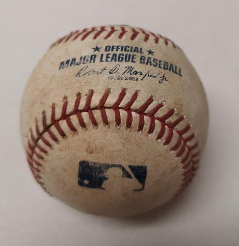 Photo of Authenticated Game Used Baseball - Matt Joyce Single against Marcus Stroman (July 27, 2017 vs OAK). Top 4.
