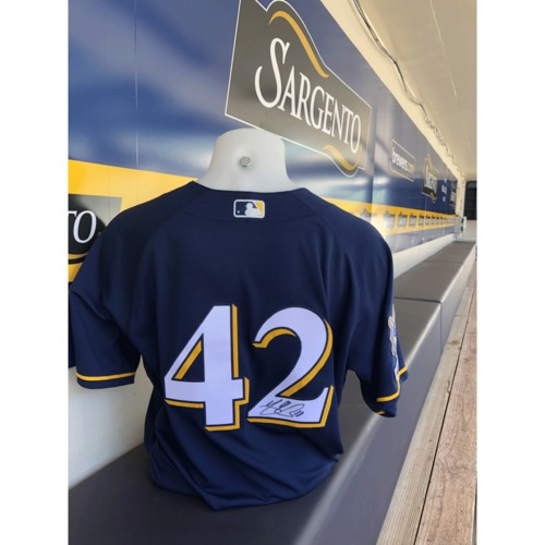 Photo of Yasmani Grandal Game Used, Autographed Jackie Robinson Day Jersey; 2-2, 1 R