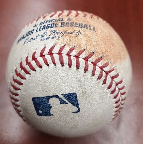 Photo of Authenticated Game Used Baseball - Single by Yonder Alonso against Aaron Sanchez (May 12, 2019 vs CWS). Top 5.