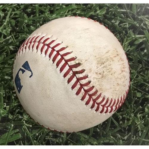 Photo of Game-Used Baseball ARI@MIL  05/23/18 - Zack Godley - Christian Yelich: Double