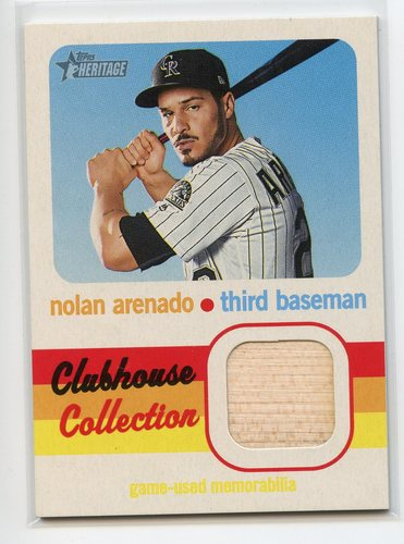 Photo of 2020 Topps Heritage Clubhouse Collection Relics #CCRNA Nolan Arenado