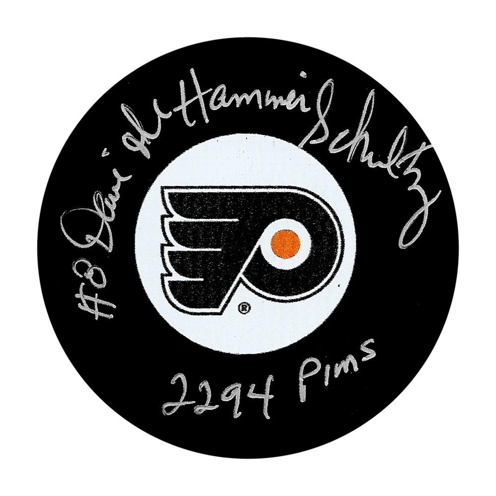 Dave THE HAMMER Schultz Autographed Philadelphia Flyers Puck w/2294 PIMS Inscription