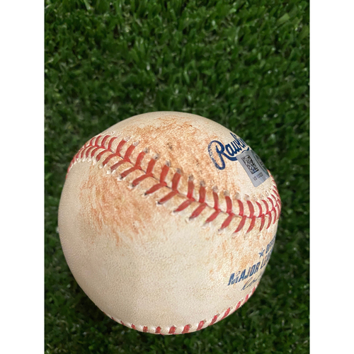 Photo of Alec Bohm Game Used Hit Single Baseball - August 23, 2020